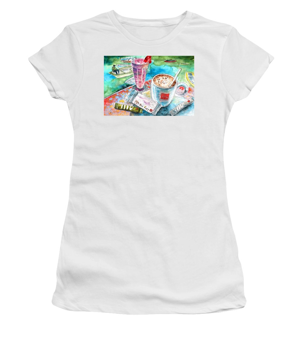 Travel Women's T-Shirt (Athletic Fit) featuring the painting Coffee Break In Agios Nikolaos In Crete by Miki De Goodaboom