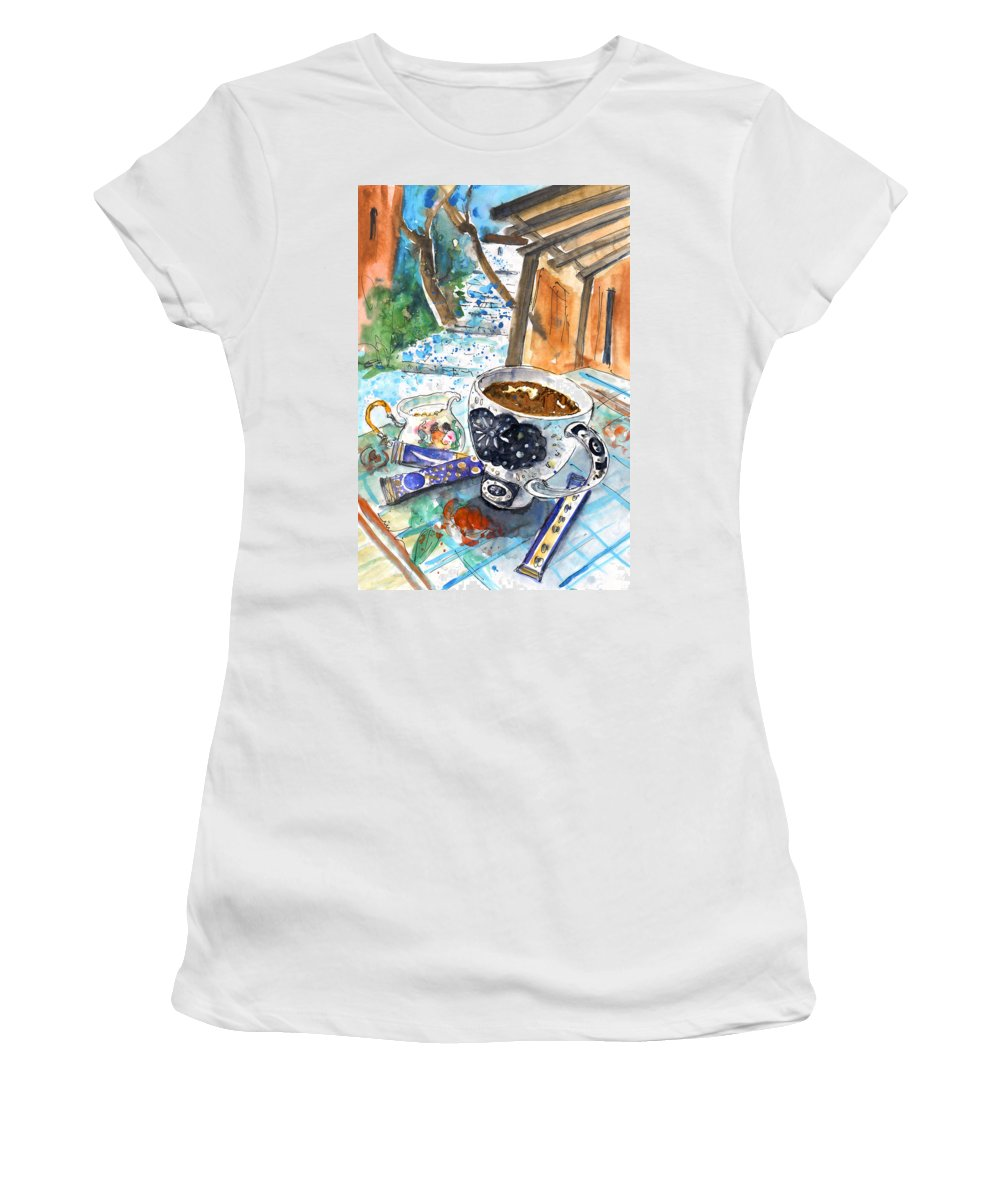 Travel Art Women's T-Shirt (Athletic Fit) featuring the painting Coffee Break In Elos In Crete by Miki De Goodaboom