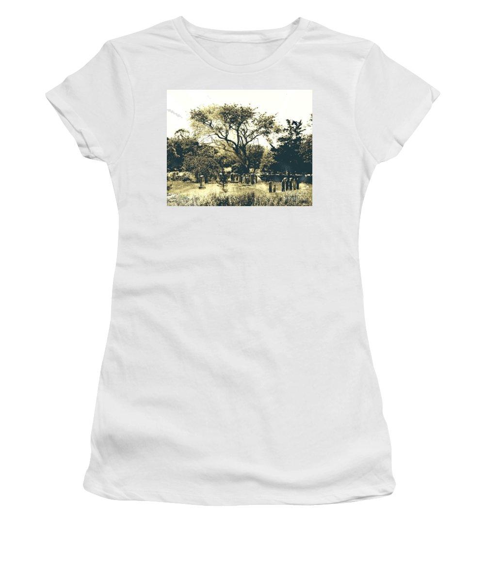 Cemetary Women's T-Shirt featuring the digital art Conneticut Family Plot by Lizi Beard-Ward