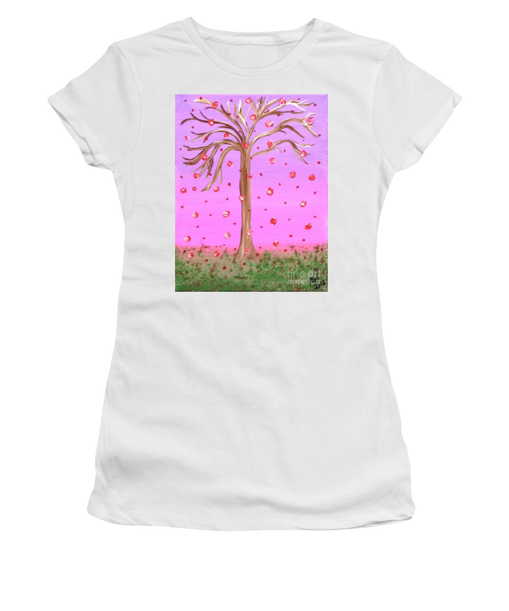 Cotton Candy Women's T-Shirt featuring the painting Cotton Candy Sky Wishing Tree by Alys Caviness-Gober