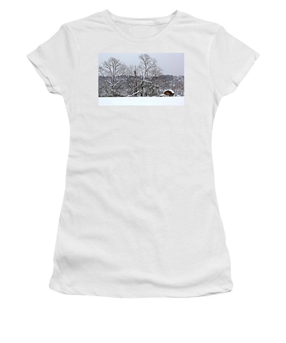 Alone Women's T-Shirt (Athletic Fit) featuring the photograph Country Christmas 5 by Dan Stone