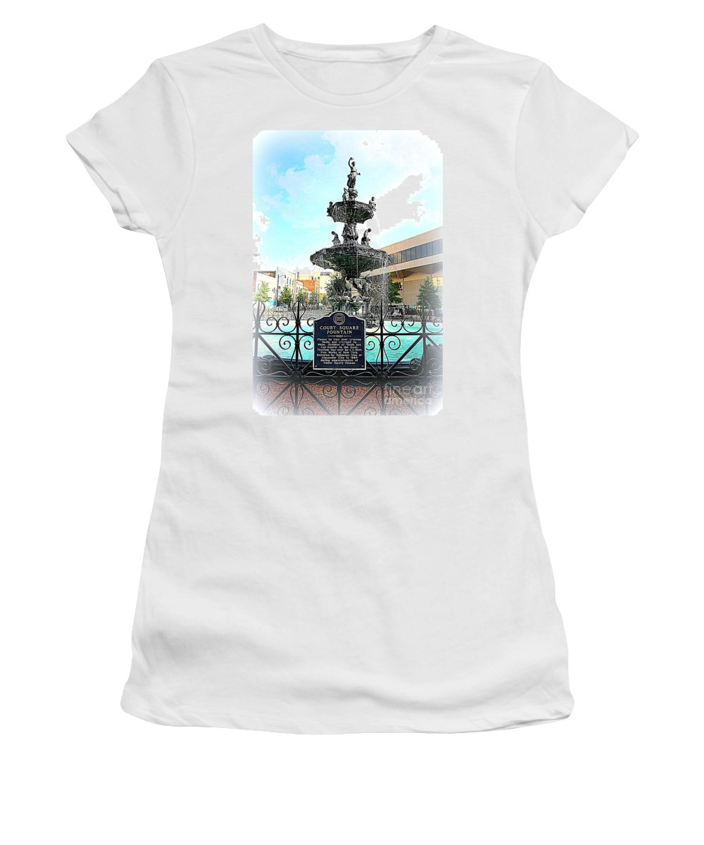 Court Square Fountain Women's T-Shirt featuring the photograph Court Square Fountain by Carol Groenen