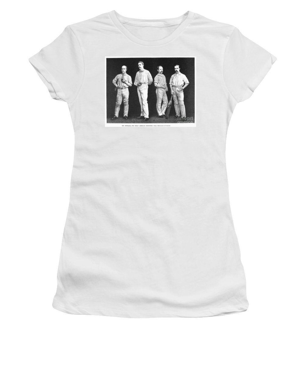1889 Women's T-Shirt featuring the photograph Cricket Players, 1889 by Granger