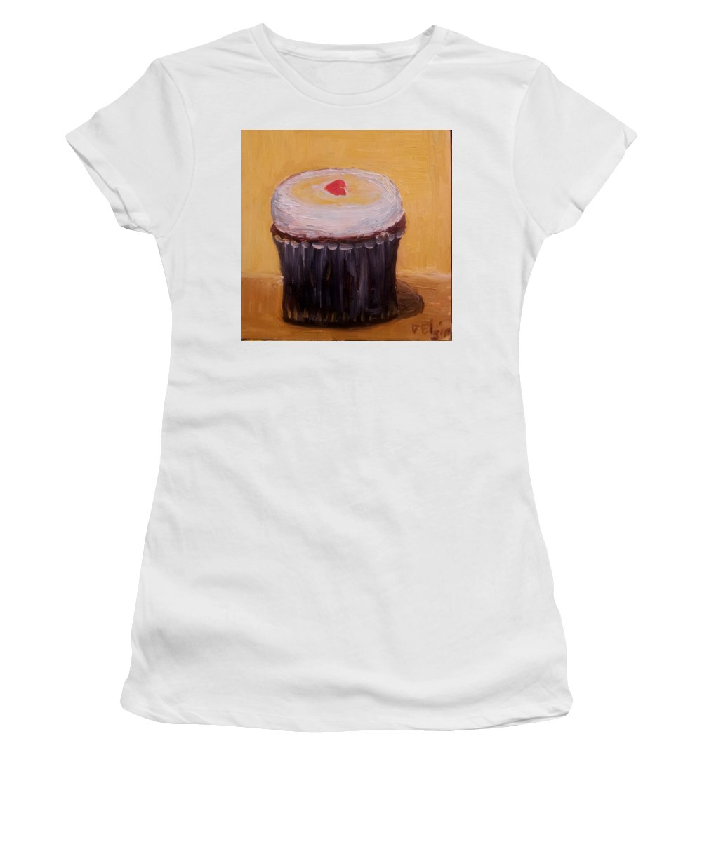 Food Women's T-Shirt (Athletic Fit) featuring the painting Cupcake by Diane Elgin