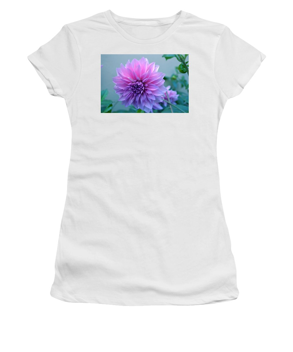 Flower Women's T-Shirt (Athletic Fit) featuring the photograph Dahlia Flower2 by Saifon Anaya