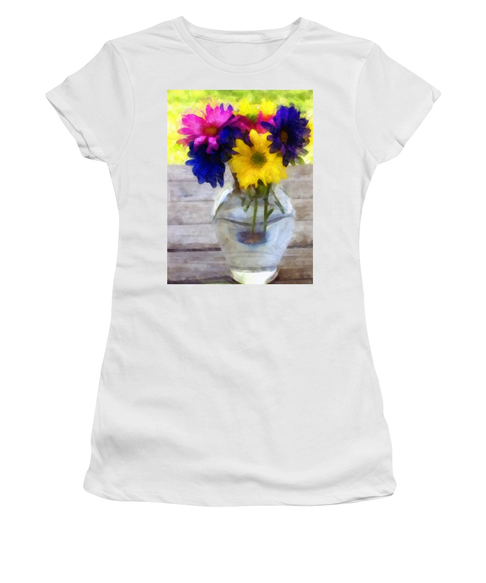 Daisy Women's T-Shirt (Athletic Fit) featuring the photograph Daisy Crazy Revisited by Angelina Vick