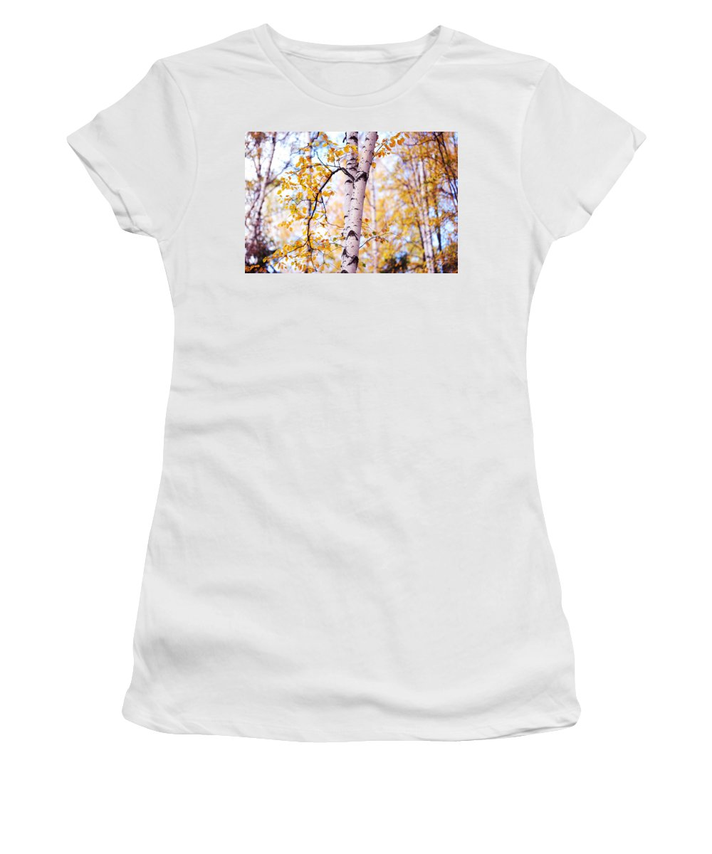 Autumn Women's T-Shirt featuring the photograph Dancing Birches by Jenny Rainbow