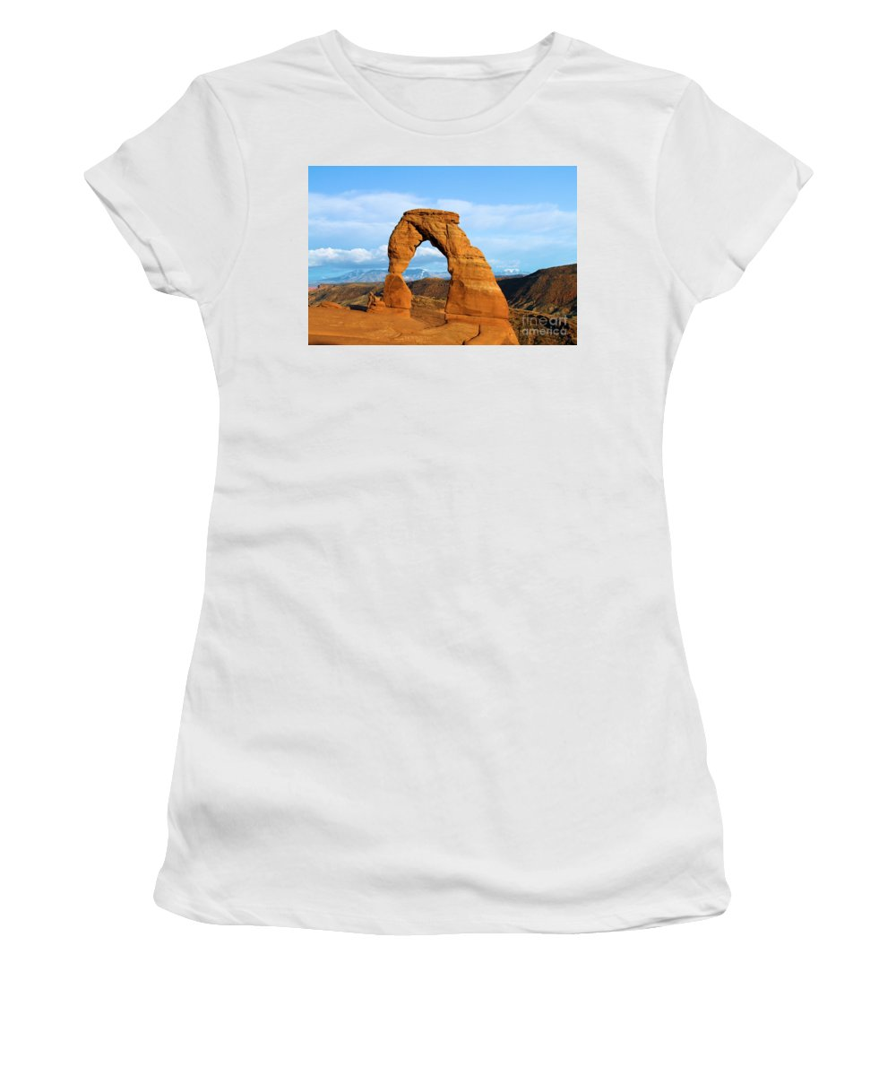 Delicate Arch Women's T-Shirt featuring the photograph Delicate Sights by Adam Jewell