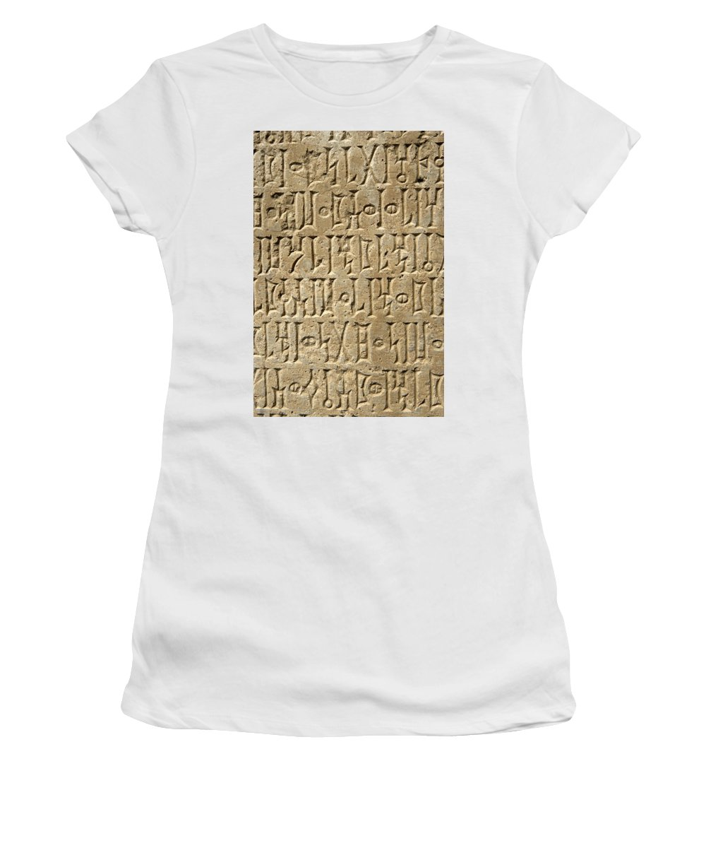 Yemen Women's T-Shirt (Athletic Fit) featuring the photograph Details Of Sabaean Inscriptions At The by Axiom Photographic