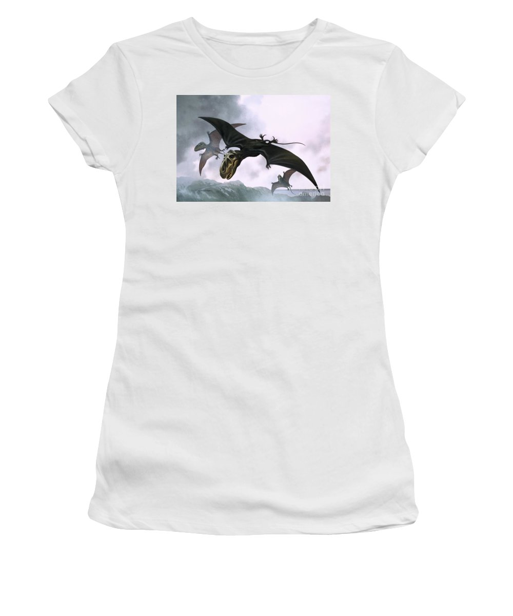 Dimorphodon; Dinosaur; Bird; Pre-historic Animals; Prehistoric Animals; Dinosaurs; Pterosaurs Women's T-Shirt (Athletic Fit) featuring the painting Dimorphodon by William Francis Phillipps