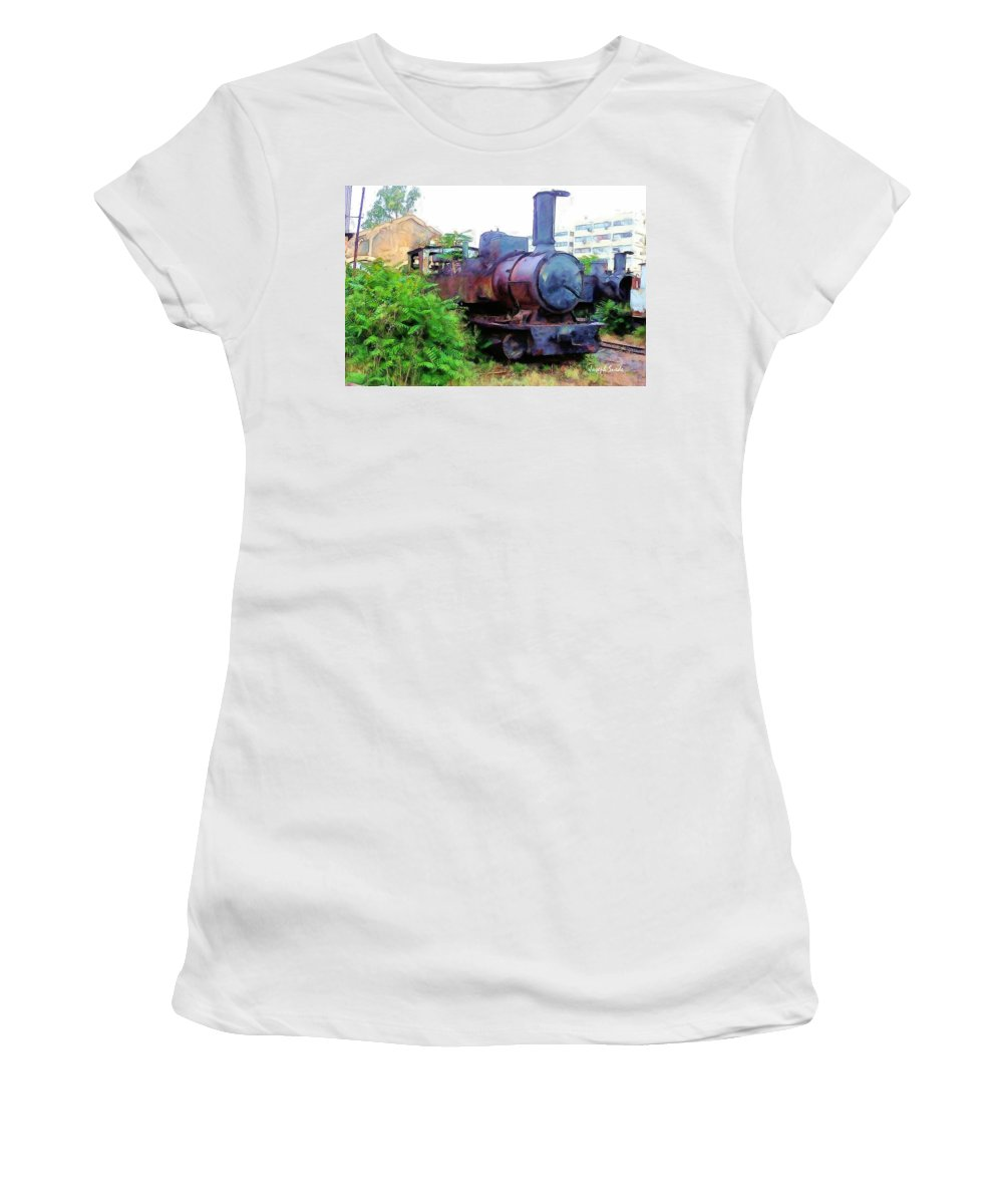 Train Women's T-Shirt (Athletic Fit) featuring the photograph Do-00504 Train In Mar Mickael by Digital Oil