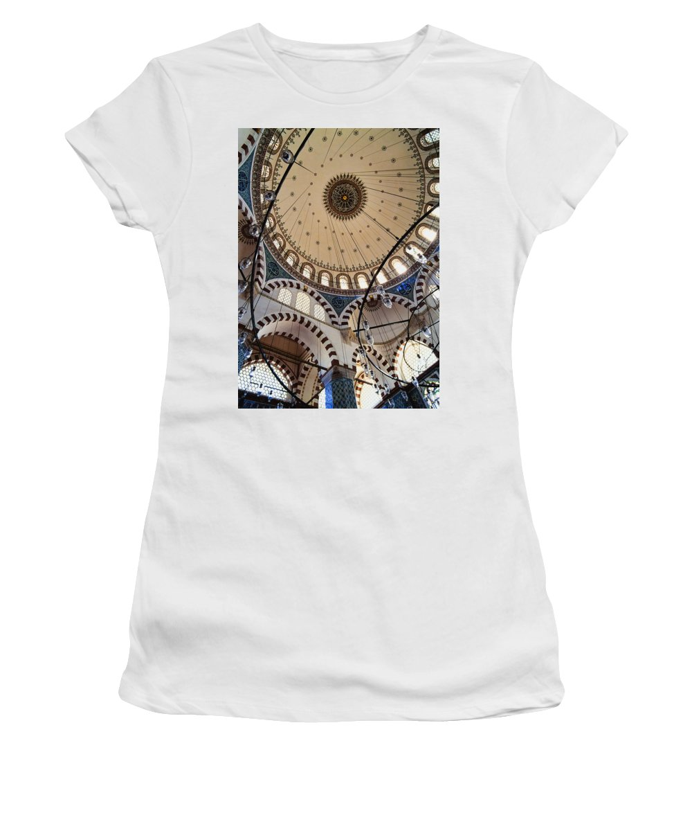 Vertical Women's T-Shirt (Athletic Fit) featuring the photograph Domed Roof Of Rustem Pasa Mosque by Axiom Photographic