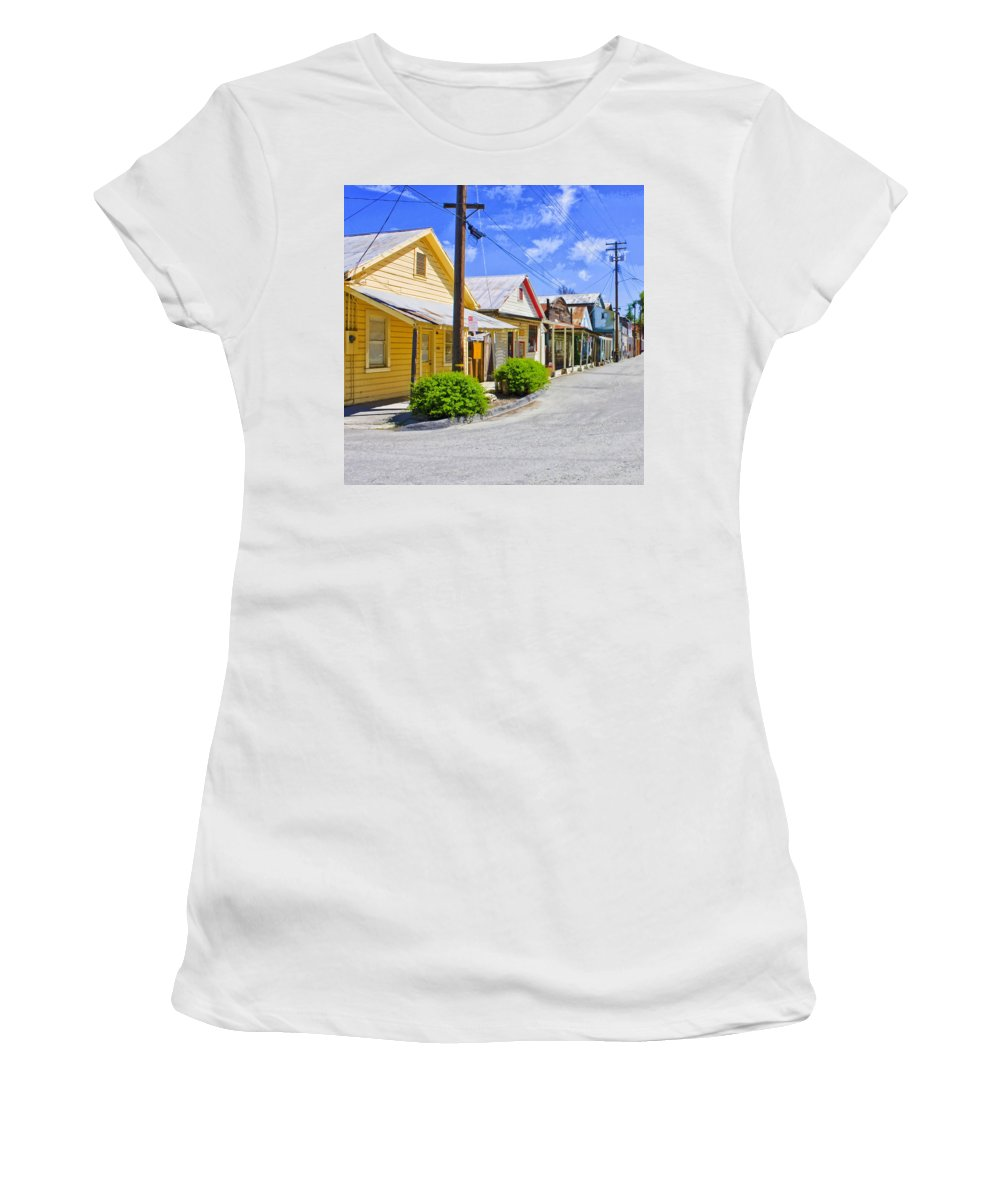 Main Street Women's T-Shirt featuring the mixed media Down On Main Street by Dominic Piperata