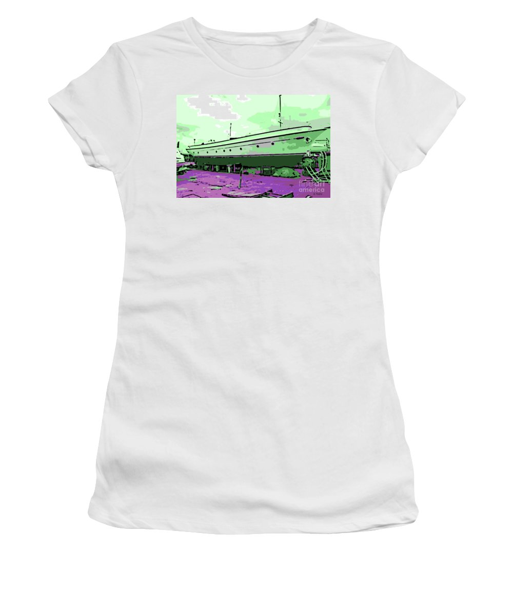 Dry Dock Women's T-Shirt featuring the photograph Dry Dock by George Pedro