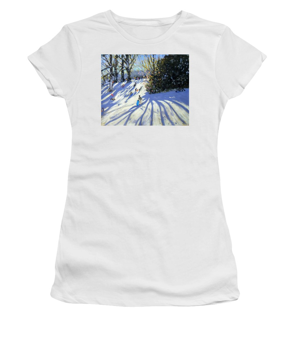 Sledge Women's T-Shirt (Athletic Fit) featuring the painting Early Snow Darley Park by Andrew Macara