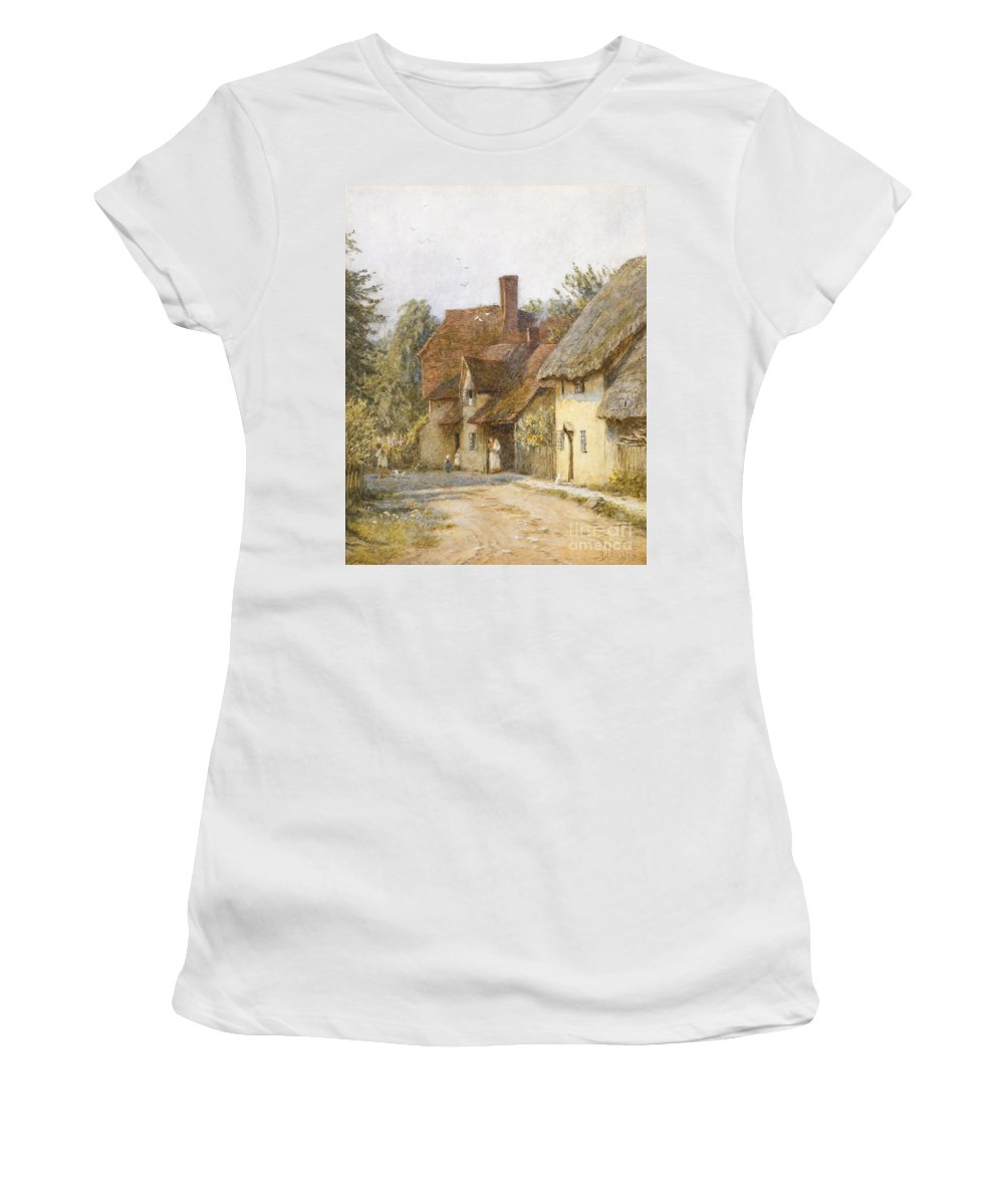 Village; Street Scene; Cottage; Cottages; English; Landscape; Rural; C19th; C20th; Victorian Women's T-Shirt (Athletic Fit) featuring the painting East Hagbourne Berkshire by Helen Allingham