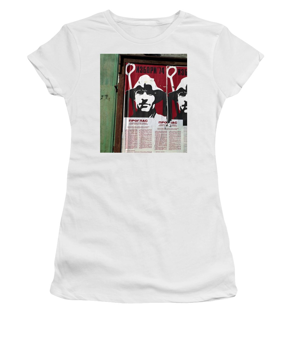 Serbia Belgrade Women's T-Shirt (Athletic Fit) featuring the photograph Elections 1974. Belgrade. Serbia by Juan Carlos Ferro Duque