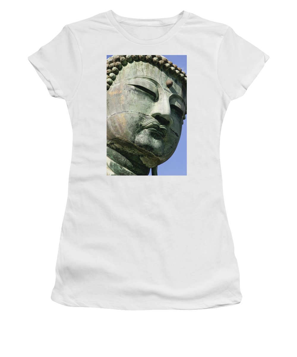 Vertical Women's T-Shirt (Athletic Fit) featuring the photograph Face Of The Daibutsu Or Great Buddha by Axiom Photographic