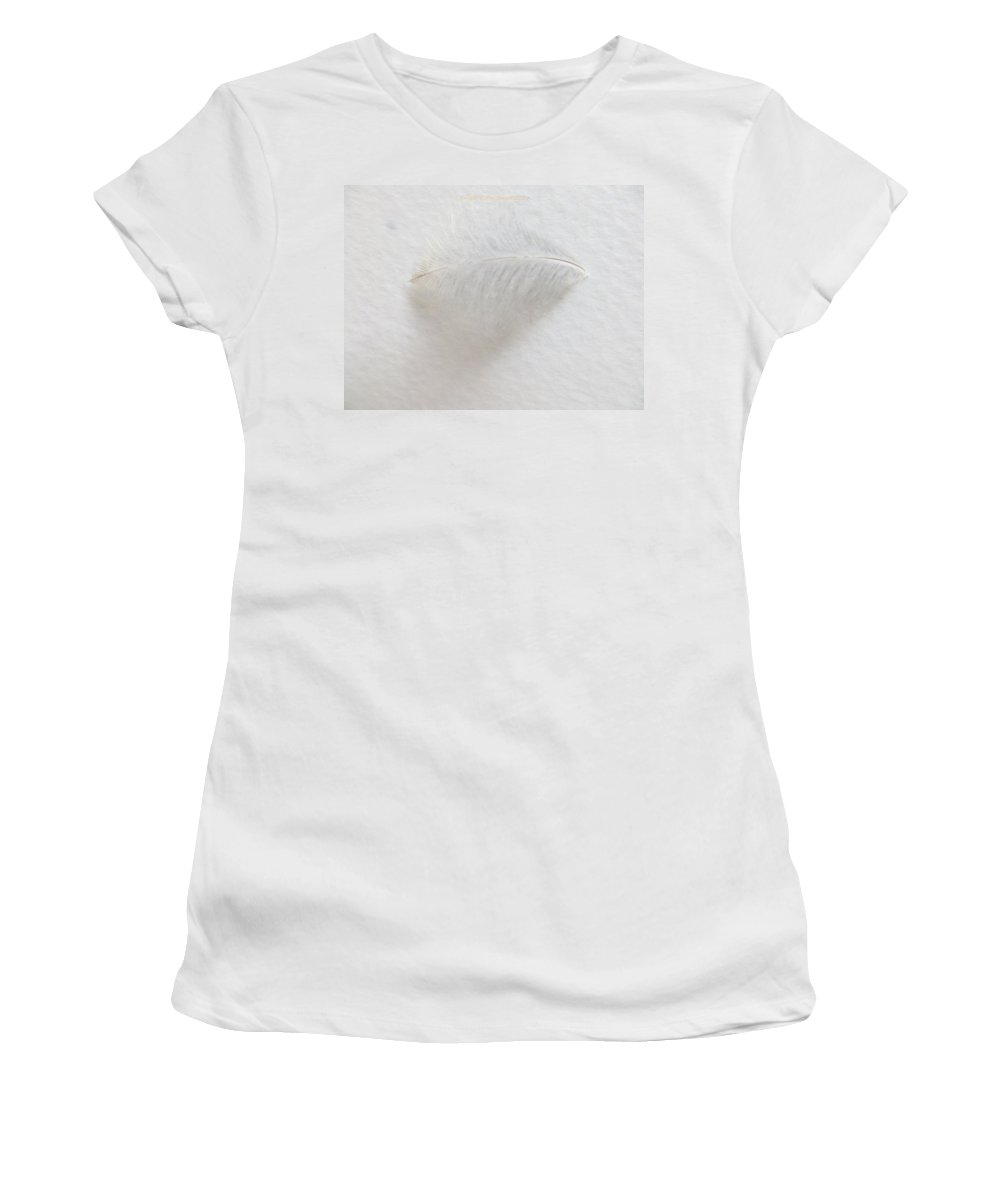 Feather Women's T-Shirt (Athletic Fit) featuring the photograph Feather Touch by Sonali Gangane