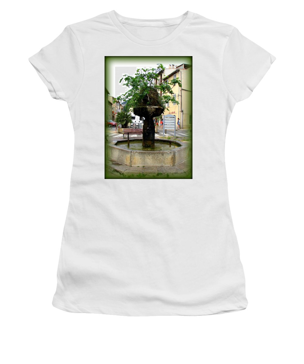 Cassis Women's T-Shirt (Athletic Fit) featuring the photograph Fig Tree Fountain In Cassis by Carla Parris