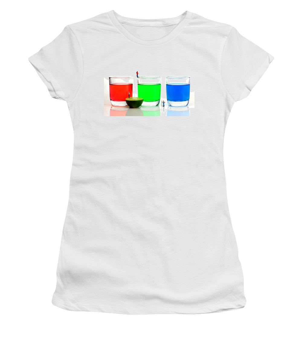 Red Women's T-Shirt (Athletic Fit) featuring the photograph Filling Rgb Lemonade by Paul Ge