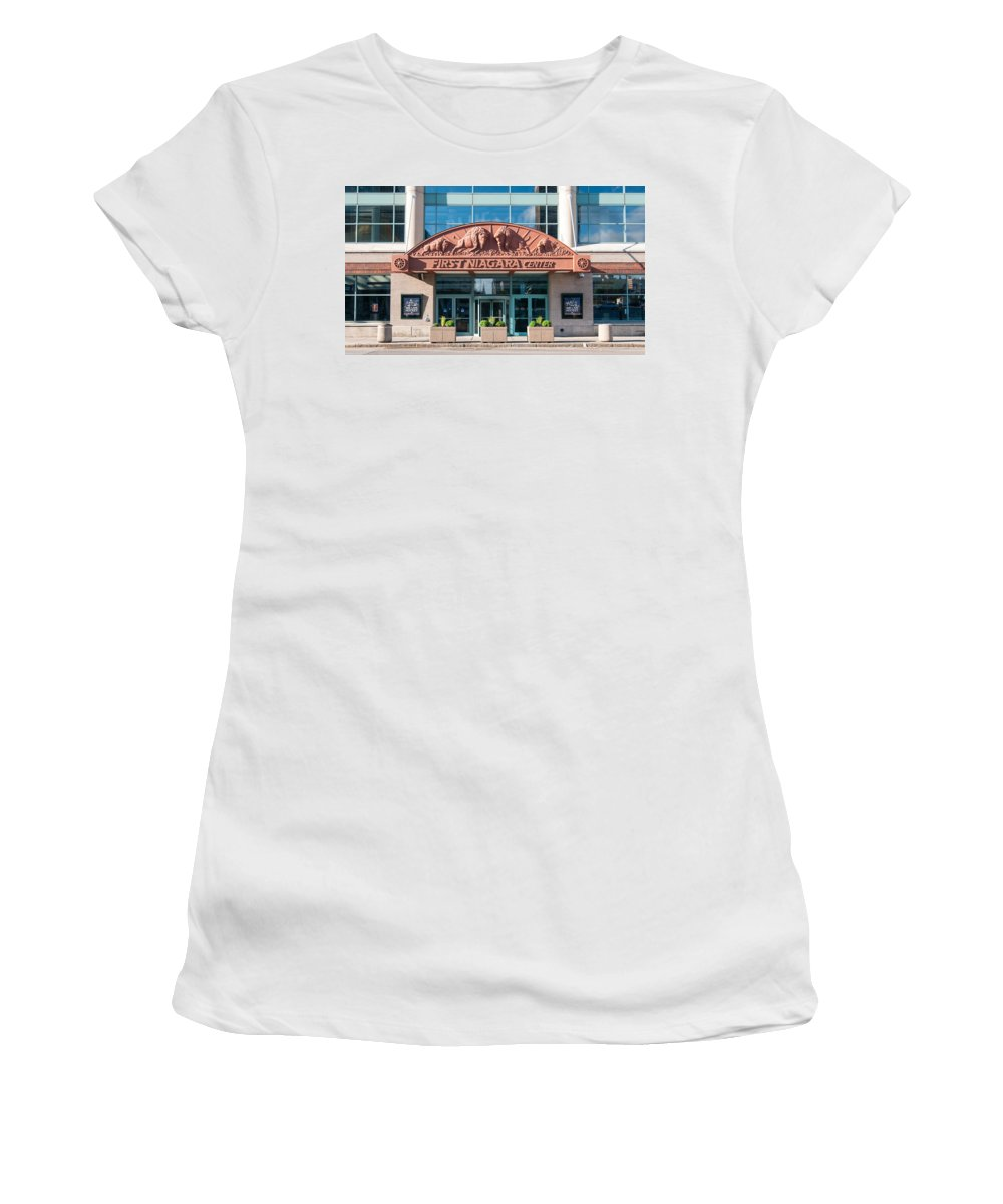 Buffalo Women's T-Shirt (Athletic Fit) featuring the photograph First Niagara Center by Guy Whiteley