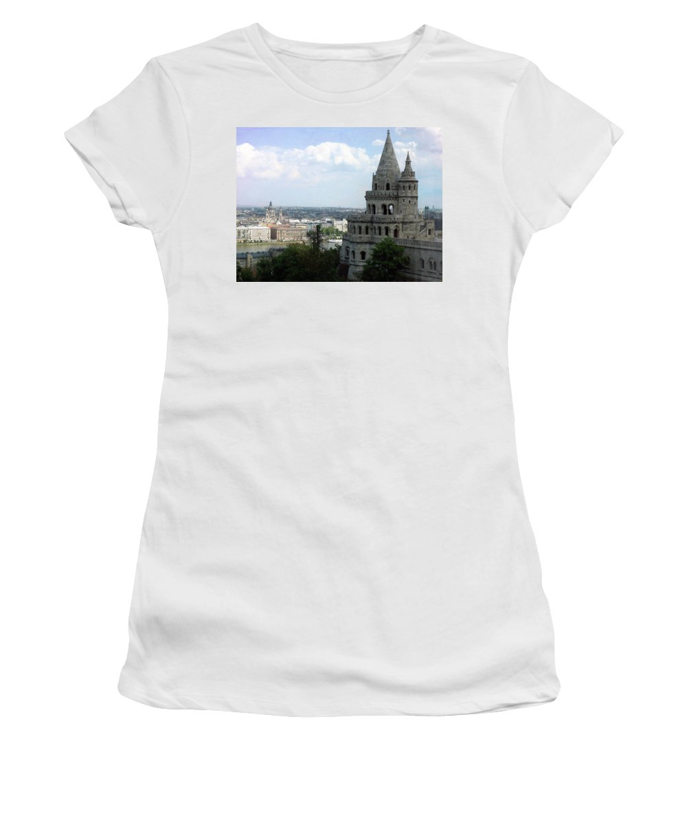 Fisherman's Bastion Women's T-Shirt featuring the photograph Fisherman's Bastion by Linda Dunn