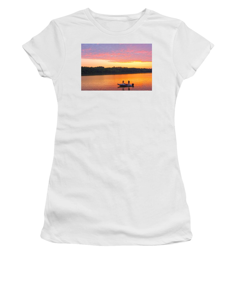 Fishermen Women's T-Shirt (Athletic Fit) featuring the photograph Fishing For Gold by Randall Branham