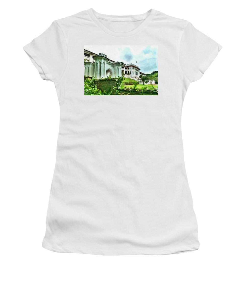 Fort Canning Women's T-Shirt (Athletic Fit) featuring the photograph Fort Canning Park Visitor Centre by Steve Taylor