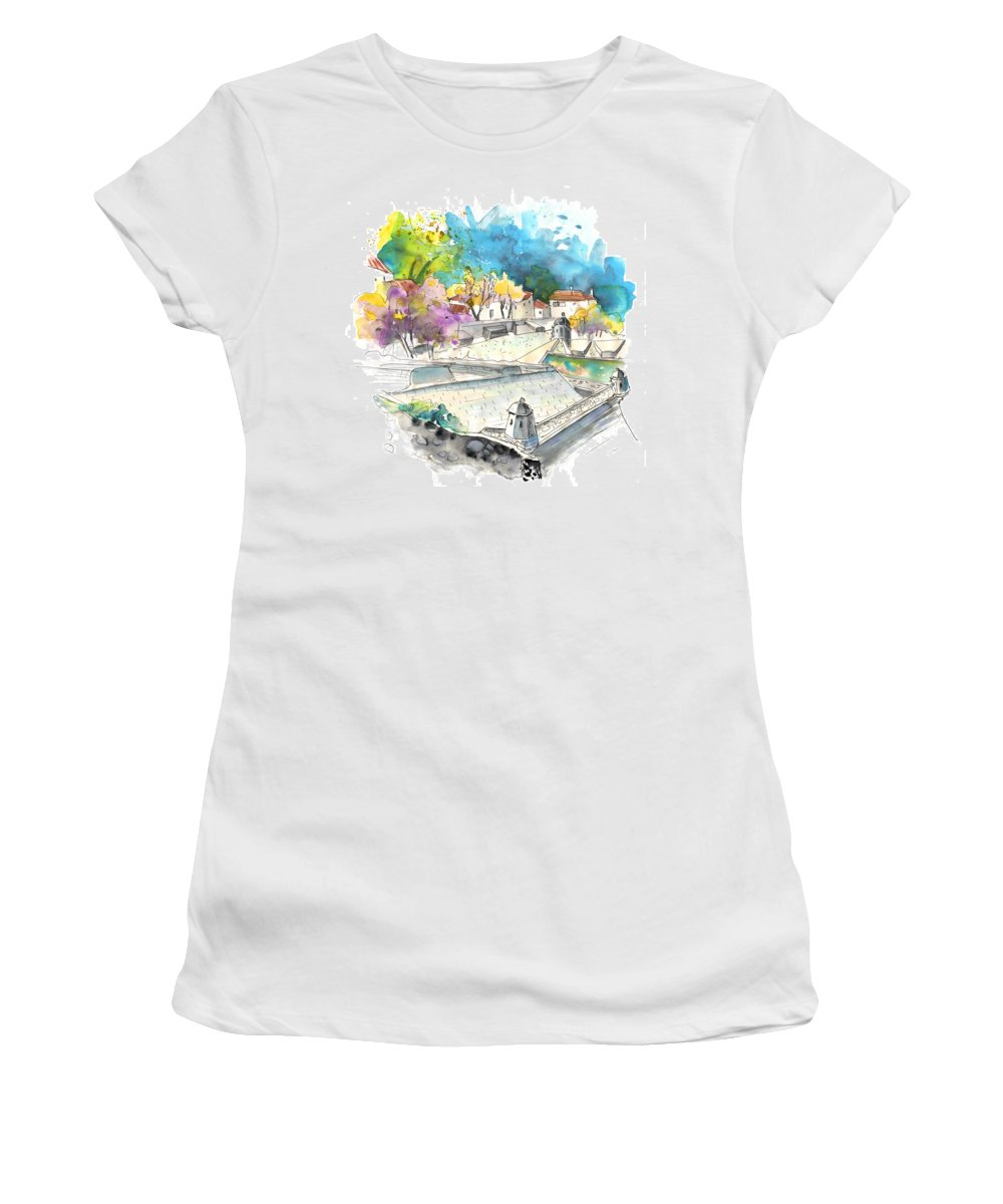 Travel Art Women's T-Shirt featuring the painting Fort In Valenca In Portugal 01 by Miki De Goodaboom
