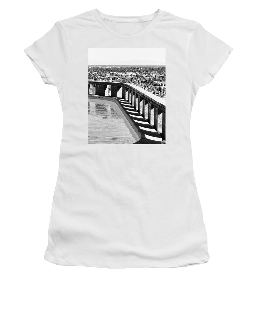 Frey Women's T-Shirt featuring the photograph Frey Pool Bw Palm Springs by William Dey