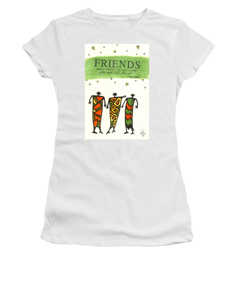Greeting Cards Women's T-Shirt (Athletic Fit) featuring the painting Friends Stand Beside You by Angela L Walker