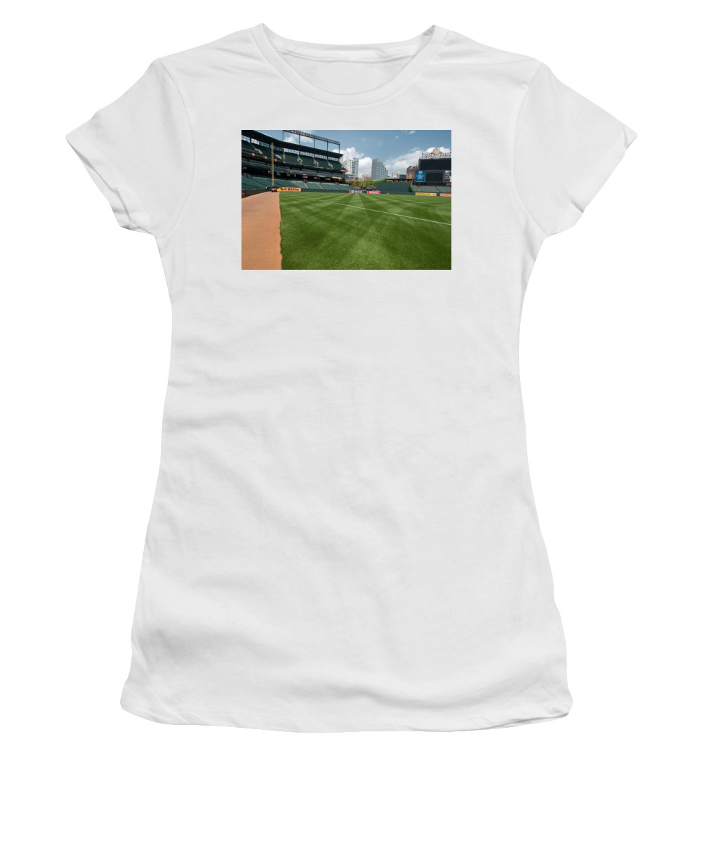 oriole Park Women's T-Shirt (Athletic Fit) featuring the From The Visitors Dugout by Paul Mangold