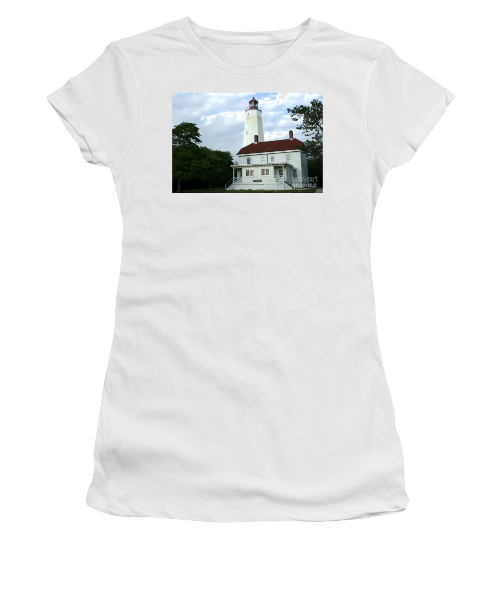 Sandy Hook Women's T-Shirt (Athletic Fit) featuring the photograph Full View Of Sandy Hook Lighthouse by Living Color Photography Lorraine Lynch