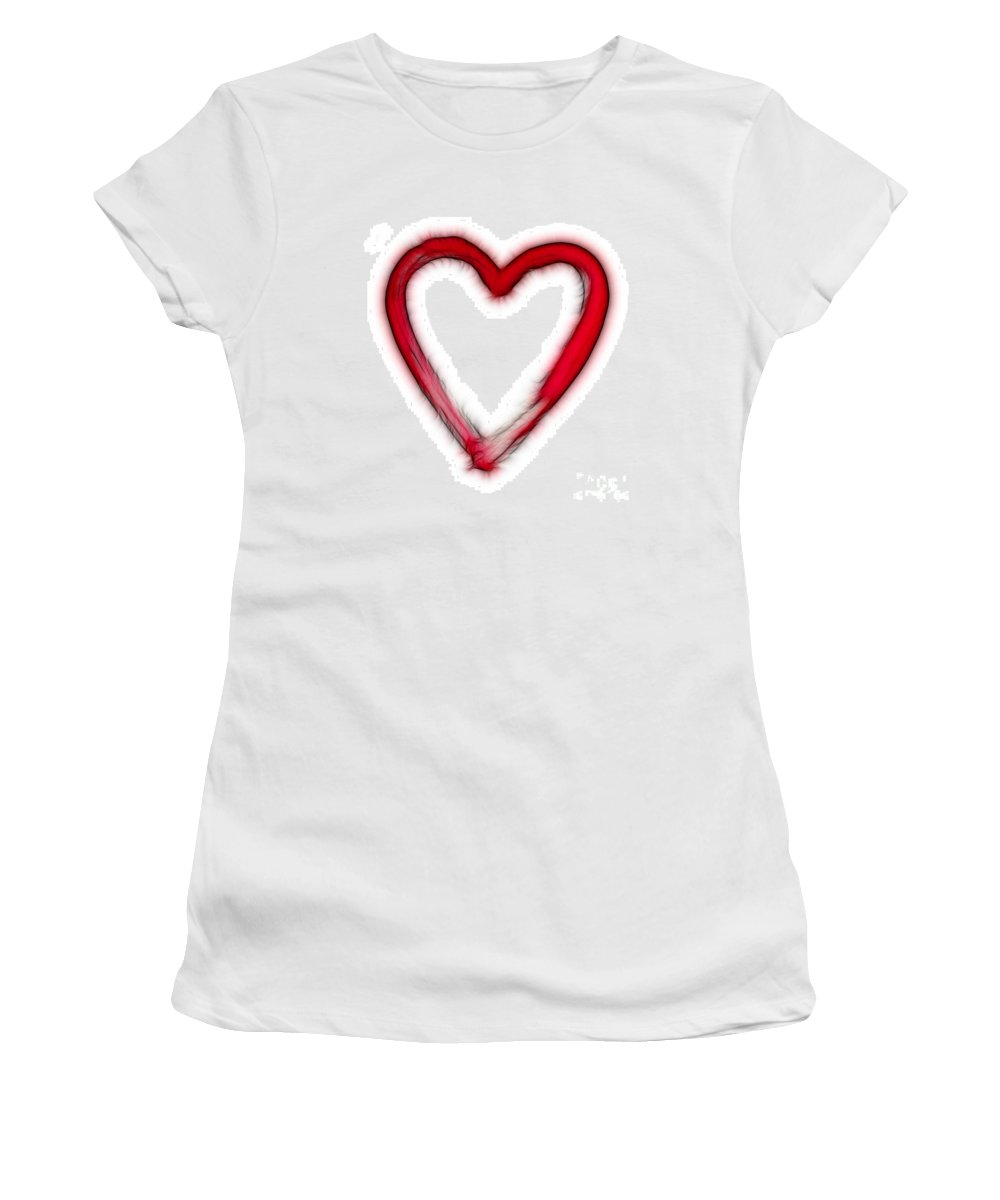 Love Women's T-Shirt (Athletic Fit) featuring the digital art Furry Heart - Symbol Of Love by Michal Boubin