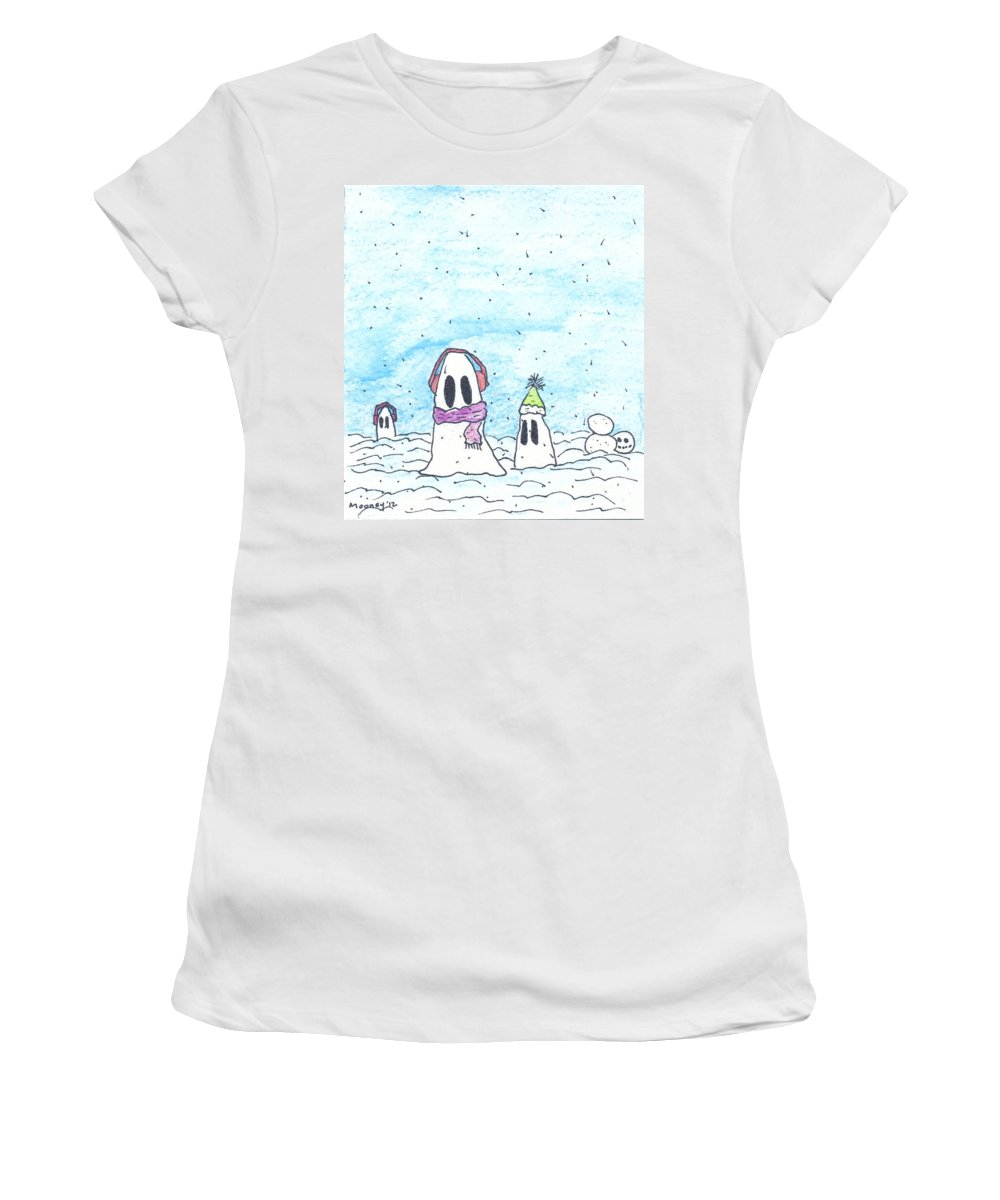 Watercolor Drawing Women's T-Shirt (Athletic Fit) featuring the drawing Ghost In Snow by Michael Mooney