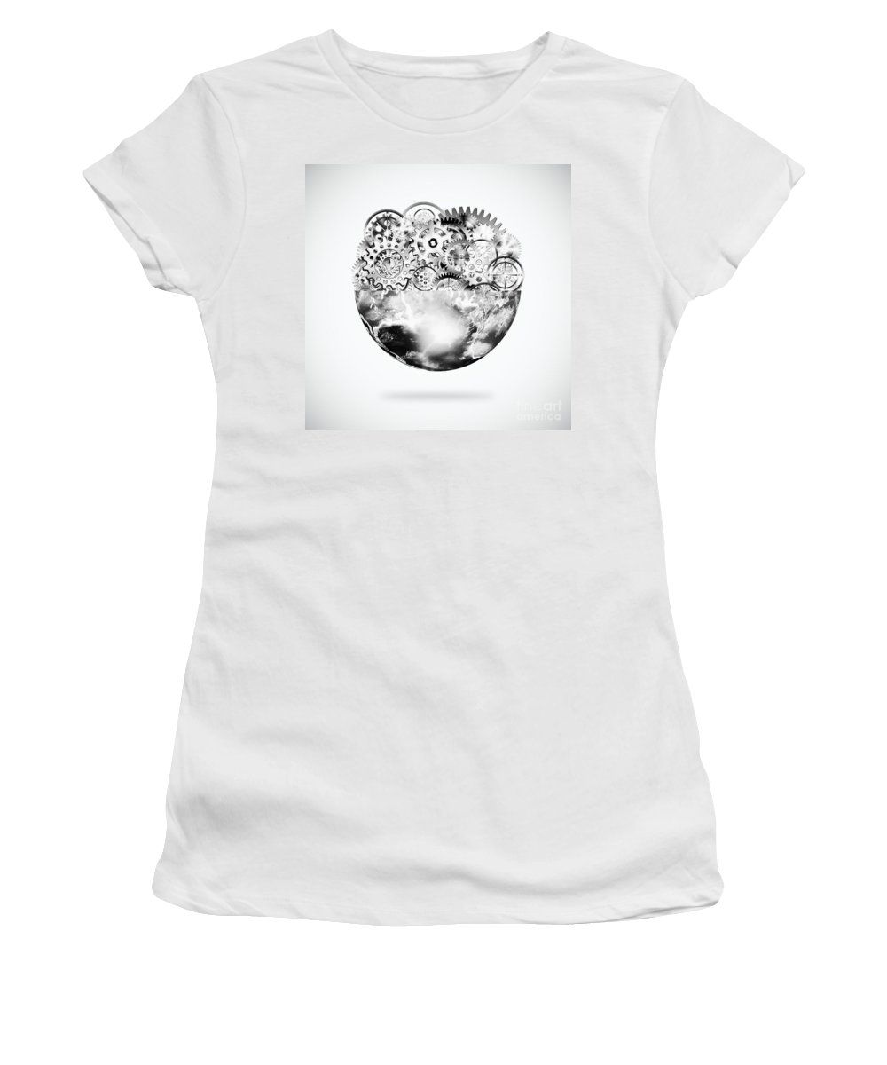 Art Women's T-Shirt (Athletic Fit) featuring the photograph Globe With Cogs And Gears by Setsiri Silapasuwanchai