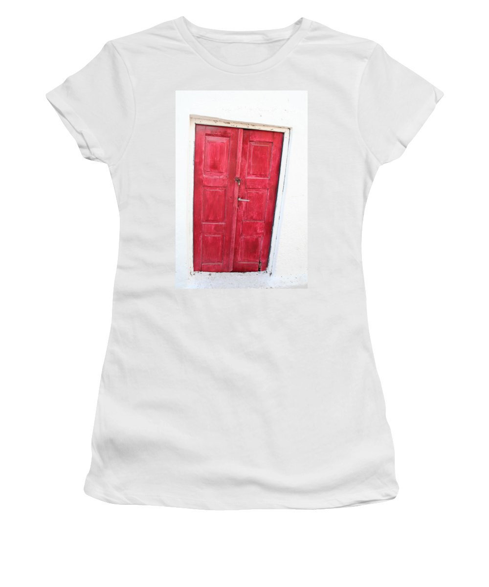 Greece Women's T-Shirt (Athletic Fit) featuring the photograph Greek Door by La Dolce Vita