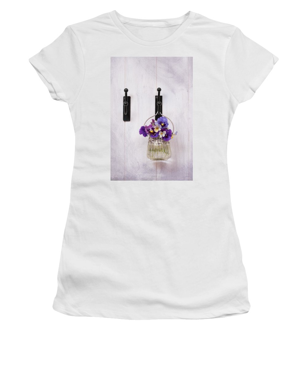 Pansies Women's T-Shirt (Athletic Fit) featuring the photograph Hanging Pansies by Amanda Elwell