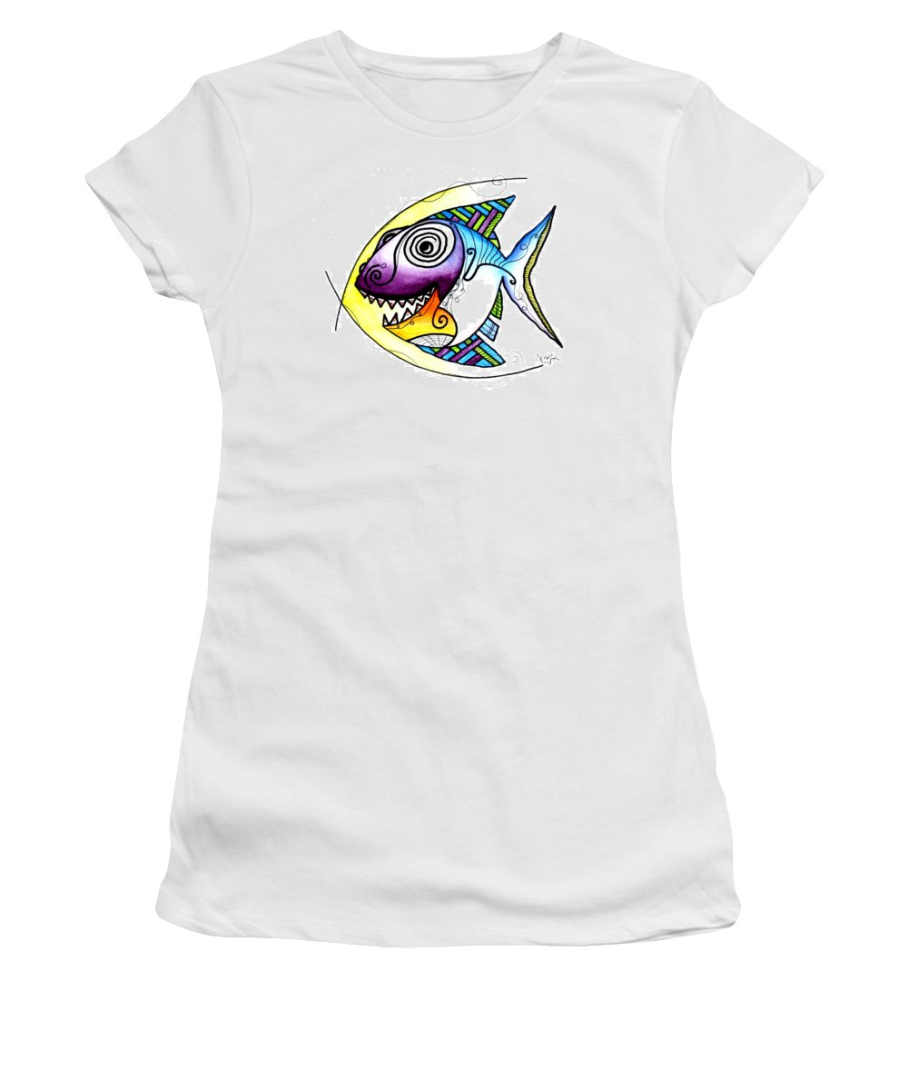 Fish Women's T-Shirt (Athletic Fit) featuring the painting Happy Happy Fish by J Vincent Scarpace