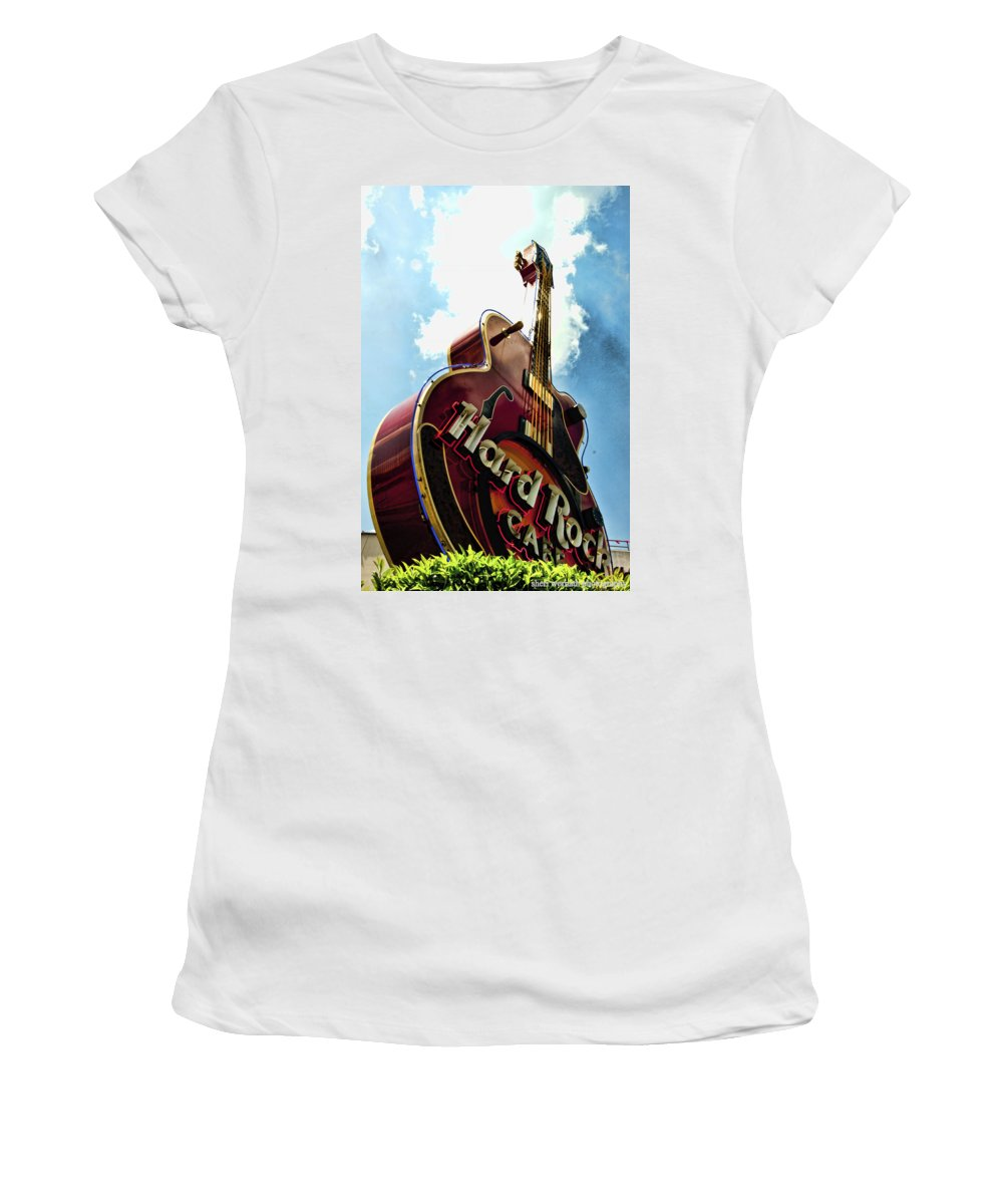 Guitar Women's T-Shirt featuring the photograph Hard Rock Guitar by Sheri Bartoszek