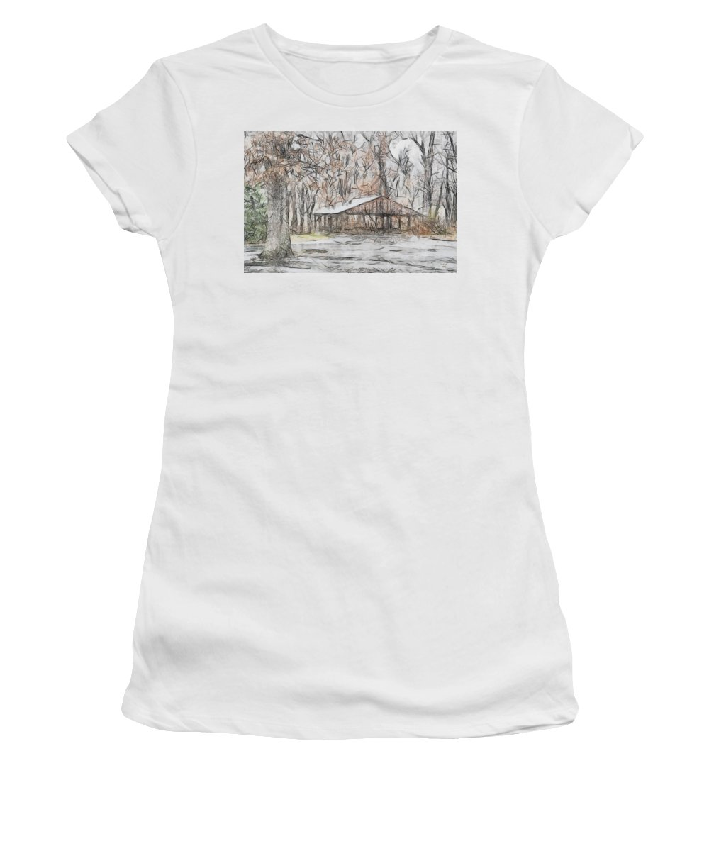 Winter Women's T-Shirt featuring the photograph Harmonyville by Trish Tritz