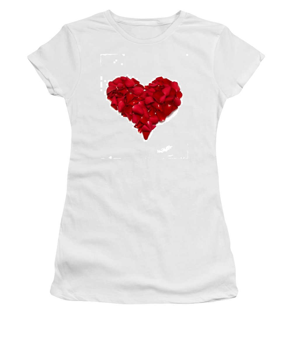 Heart Women's T-Shirt (Athletic Fit) featuring the photograph Heart Of Petals by Andy Linden