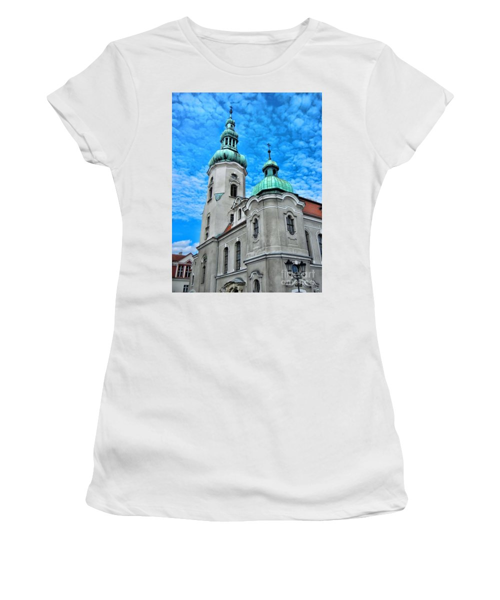 Heavenly Blues Women's T-Shirt (Athletic Fit) featuring the photograph Heavenly Blues				 by Mariola Bitner