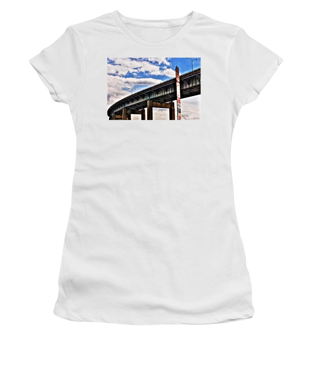 Women's T-Shirt (Athletic Fit) featuring the photograph High In The Skyway by Michael Frank Jr