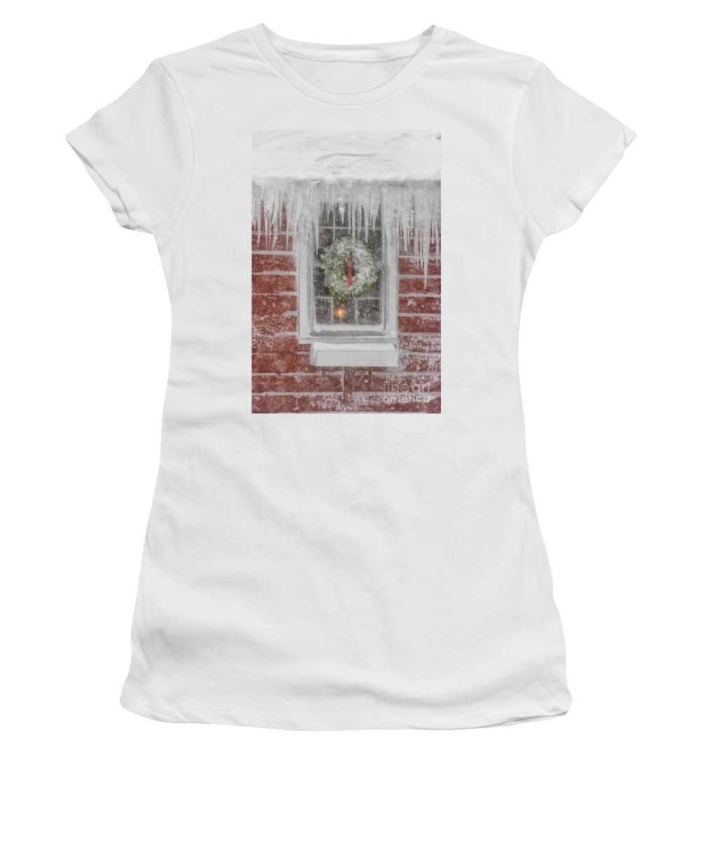 Business Exteriors Women's T-Shirt featuring the photograph Holiday Wreath In Window With Icicles During Blizzard Of 2005 On by Matt Suess