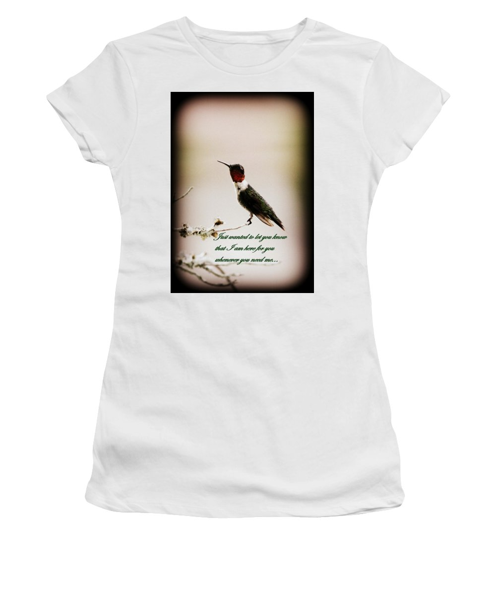 Hummingbird Women's T-Shirt (Athletic Fit) featuring the photograph Hummingbird - Cards by Travis Truelove
