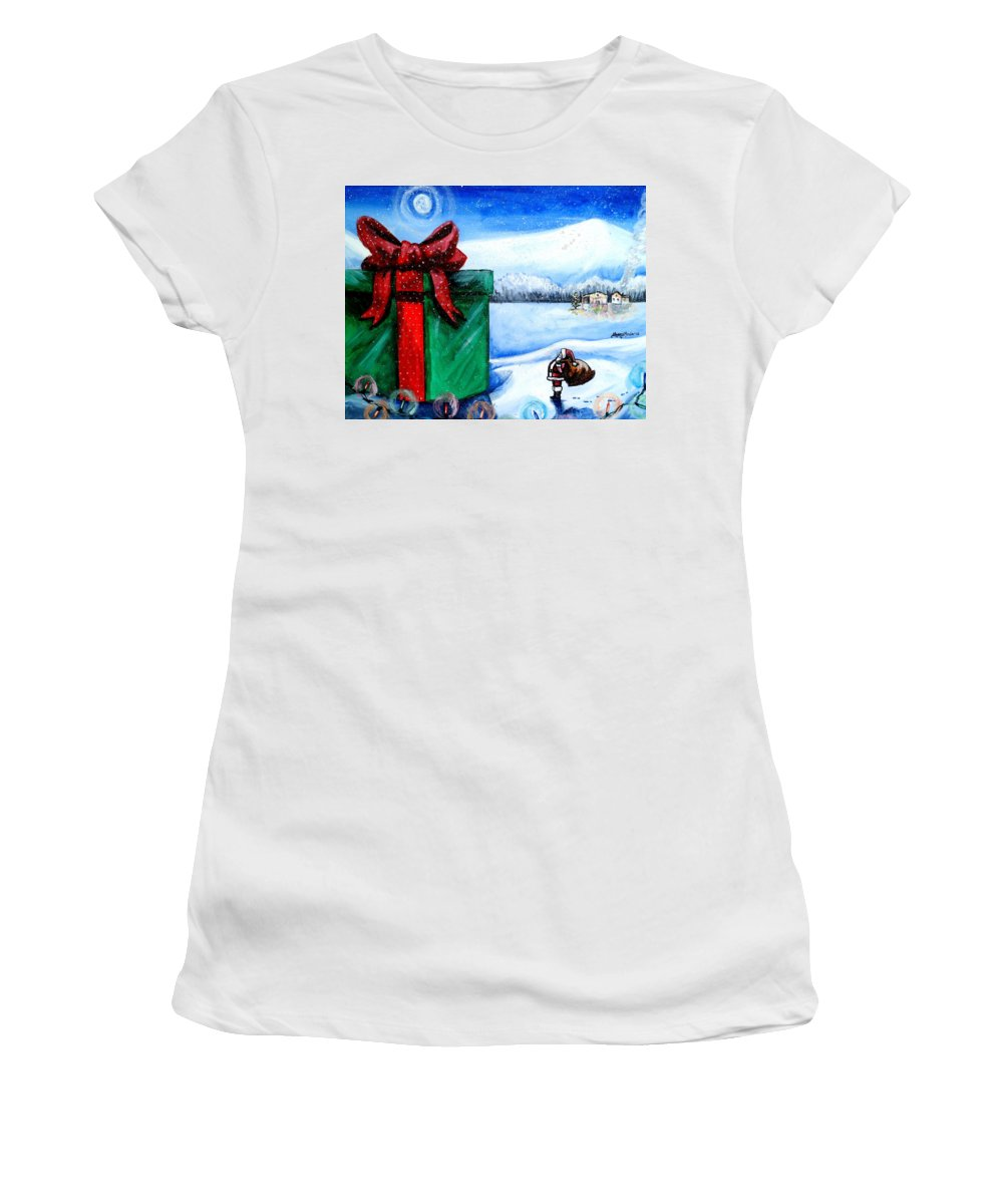 Christmas Women's T-Shirt featuring the painting I'm Going To Need A Bigger Sleigh by Shana Rowe Jackson