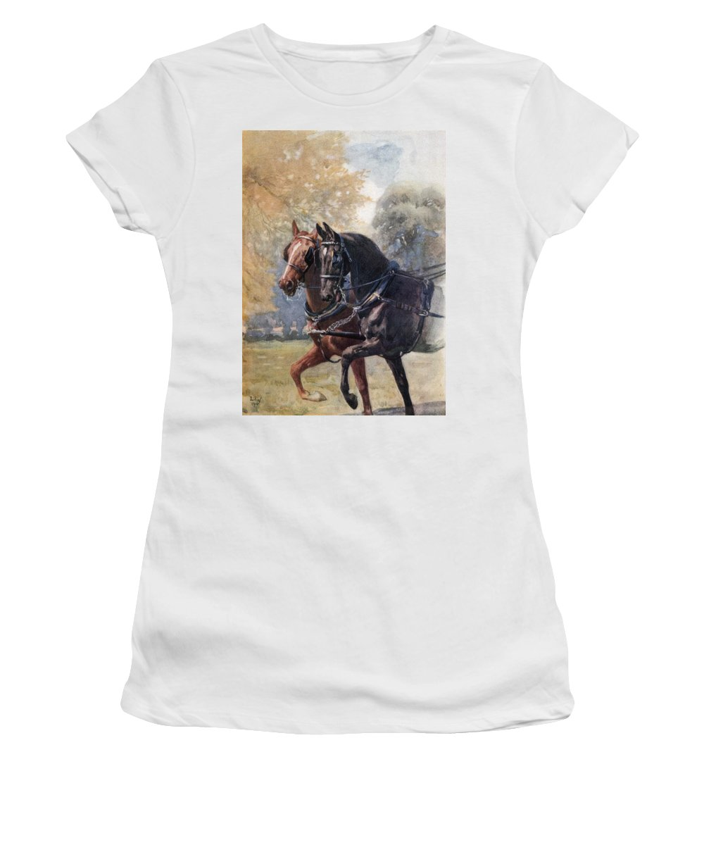 Double Women's T-Shirt (Athletic Fit) featuring the photograph In Double Harness. Illustration By Lucy by Ken Welsh