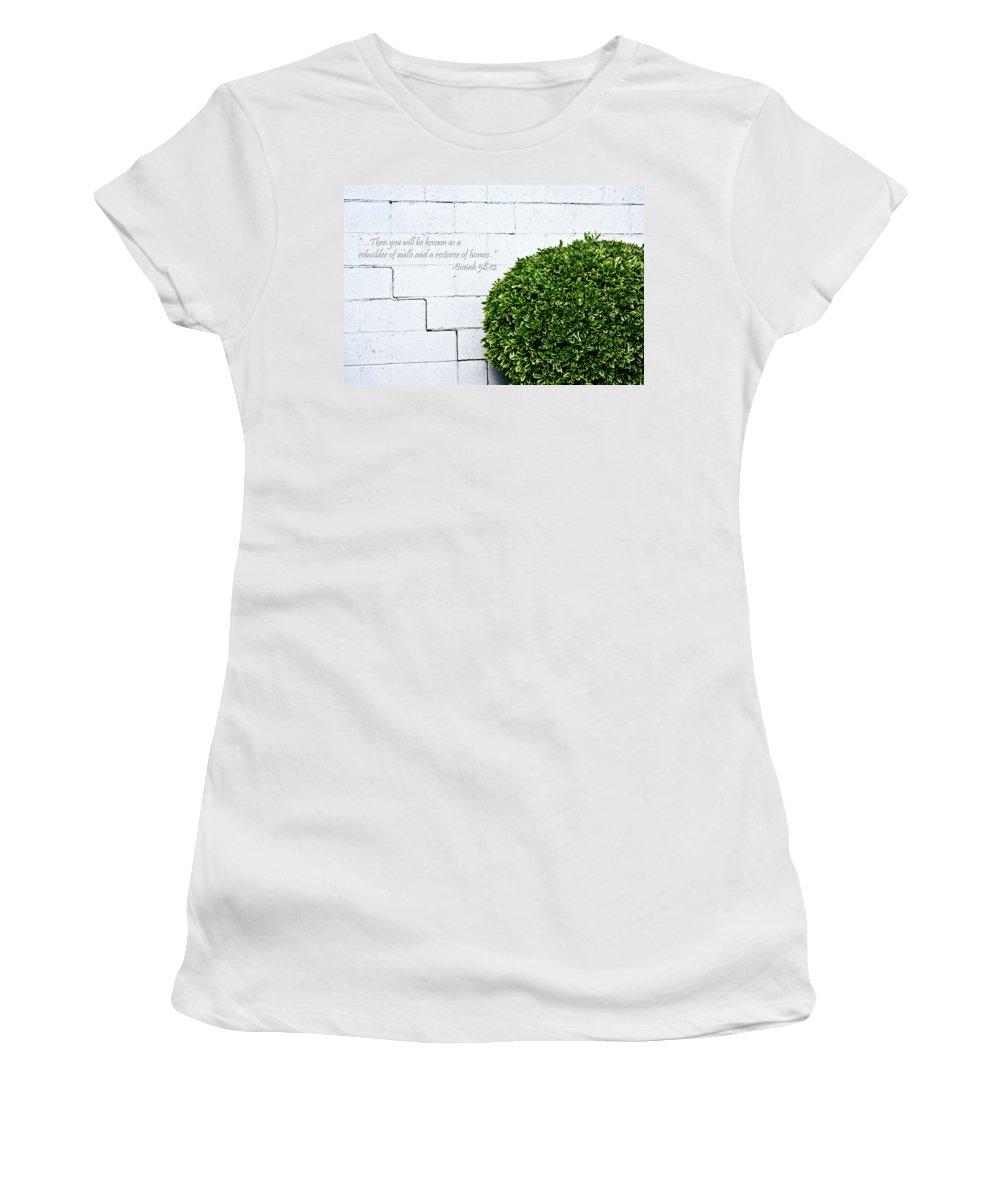 Wall Women's T-Shirt (Athletic Fit) featuring the digital art Isaiah 58 Vs 12 by Hannah Breidenbach